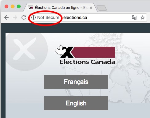 Chrome not-secure warning on Elections Canada website