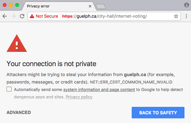 HTTPS certificate error
